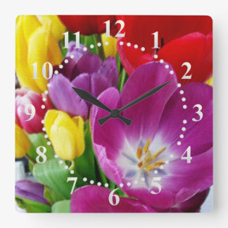 colors of tulips square wall clock