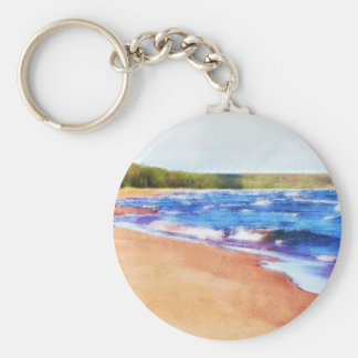 Colors of Water Basic Round Button Keychain