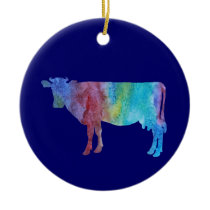 Colorwashed Cow Ceramic Ornament