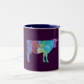 Colorwashed Cows Two-Tone Coffee Mug