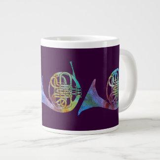 Colorwashed French Horns on Plum 20 Oz Large Ceramic Coffee Mug