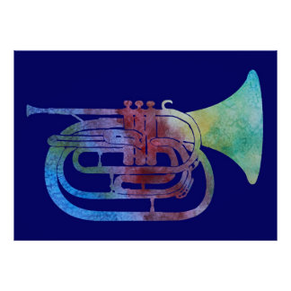 Colorwashed Marching French Horn Posters