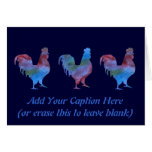 Colorwashed Rooster Stationery Note Card