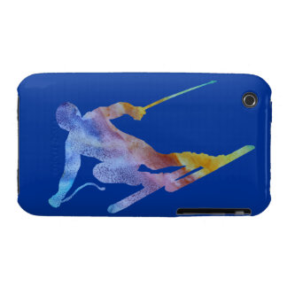 Colorwashed Skier iPhone 3 Case