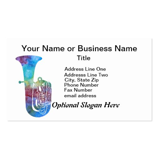 Colorwashed Tuba Double-Sided Standard Business Cards (Pack Of 100)