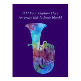 Colorwashed Tuba Postcard