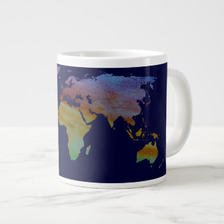 Colorwashed World Map Large Coffee Mug