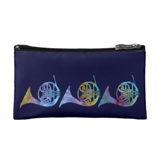 Colorwasjed French Horns Cosmetic Bags