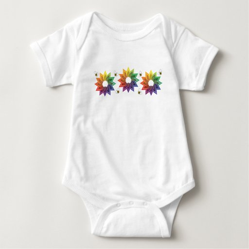 Colorwheel Flower and Bees Baby Bodysuit