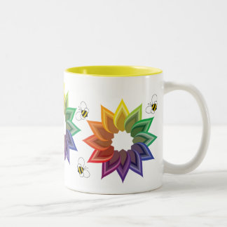 Colorwheel Flower and Bees Cup Two-Tone Coffee Mug