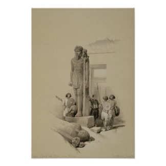 Coloso delante del templo de Wady Sabona Póster