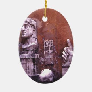 Coloso esculpido de las partes del cuerpo de adorno navideño ovalado de cerámica