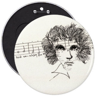 "Colossal 6"" round button with Beethoven"