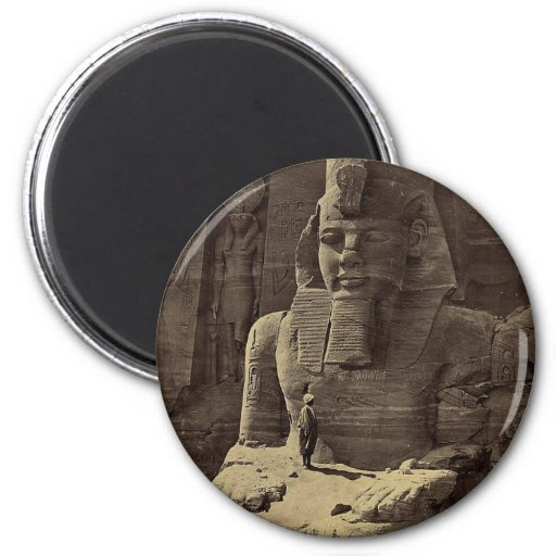 Colossal Figure, Abu Sunbul, Egypt circa 1856 2 Inch Round Magnet