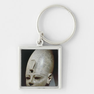 Colossal head of Amenhotep III, from al-Qurnah Silver-Colored Square Keychain