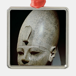 Colossal head of Amenhotep III, from al-Qurnah Square Metal Christmas Ornament