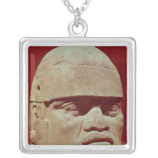 Colossal head, Olmec Silver Plated Necklace