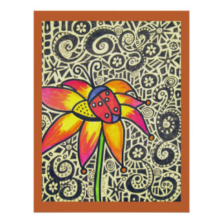 Colossal Ladybug Flower Drawing Poster