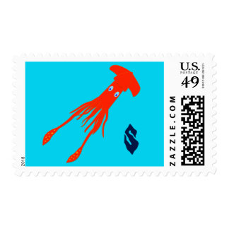Colossal Squid Monogram Postage Stamp