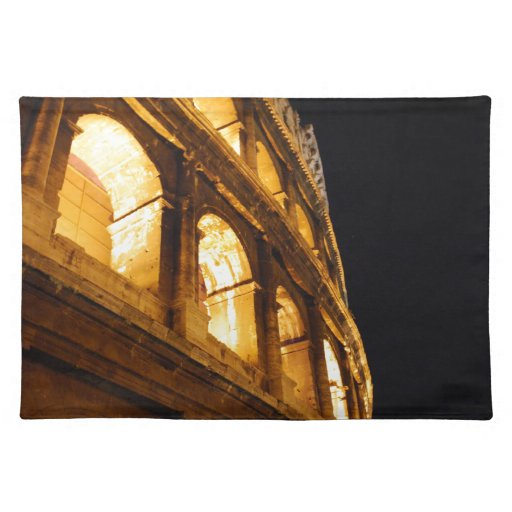 Colosseum en la noche manteles individuales