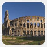 Colosseum famoso en la señal 2 de Roma Italia Pegatina Cuadrada