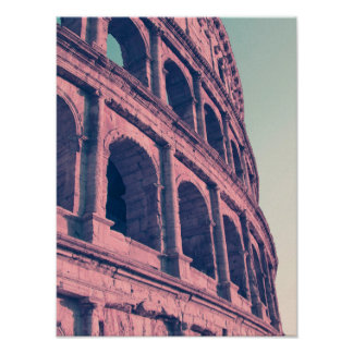 Colosseum in Rome. Monumental 3-tiered Roman Poster