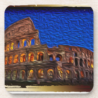 Colosseum in the night drink coaster