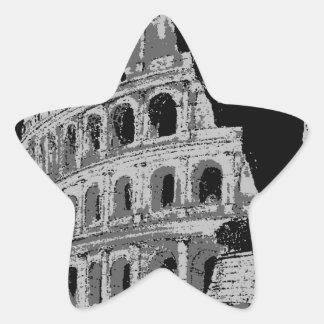Colosseum negro y blanco pegatina en forma de estrella