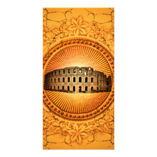 Colosseum on a button with floral elements card
