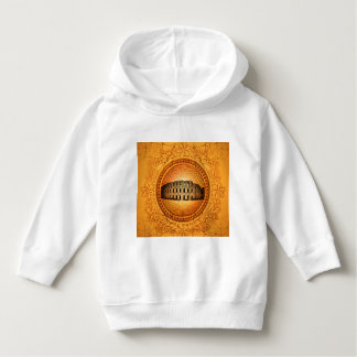 Colosseum on a button with floral elements hoodie