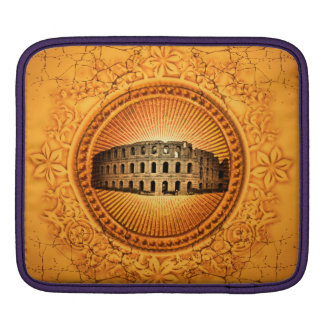 Colosseum on a button with floral elements iPad sleeve