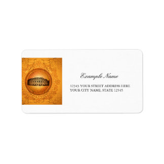 Colosseum on a button with floral elements label