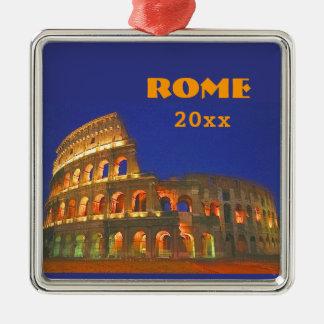 Colosseum romano adorno navideño cuadrado de metal