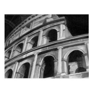 Colosseum romano con los dibujos arquitectónicos postal