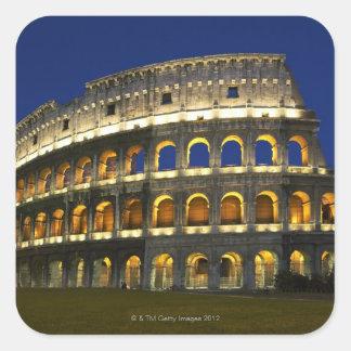 Colosseum romano, Roma, Italia 3 Pegatina Cuadrada