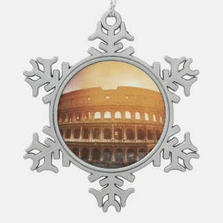 Colosseum, Rome, Italy Snowflake Pewter Christmas Ornament