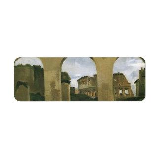 Colosseum visto a través de las arcadas en Roma, Etiquetas De Remite