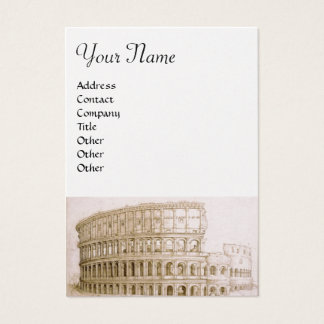 COLOSSEUM ,white brown, gold metallic paper Business Card