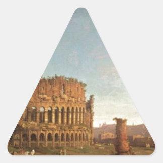 Colosseum y arco de Constantina (Roma) Pegatina Triangular