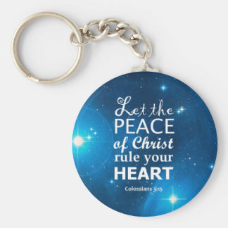 Colossians 3:15 basic round button keychain