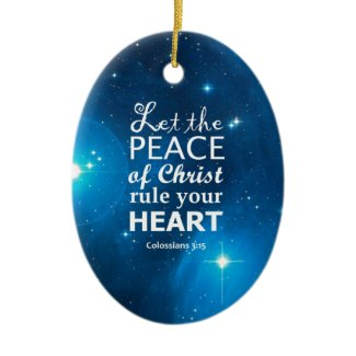 Colossians 3:15 Double-Sided oval ceramic christmas ornament