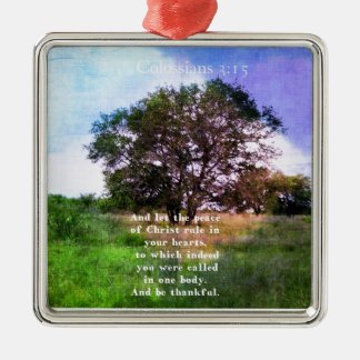 Colossians 3:15 Inspirational Bible Verse Metal Ornament