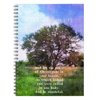 Colossians 3:15 Inspirational Bible Verse Spiral Notebooks