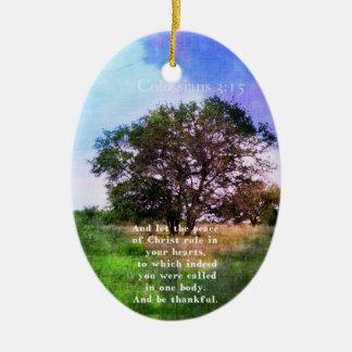 Colossians 3:15 Inspirational Bible Verse Christmas Tree Ornaments