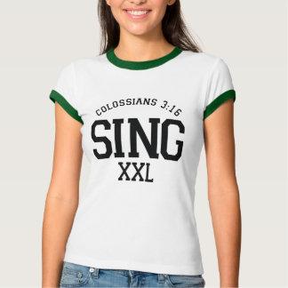 Colossians 3:16 Sing Ladies' Ringer T T-Shirt