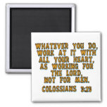 Colossians 3:23 2 inch square magnet