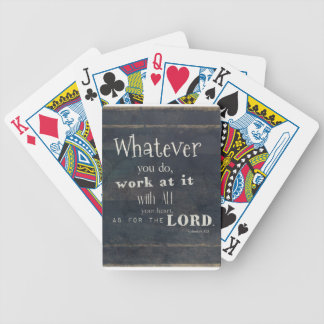 Colossians 3:23 Bible Verse, Scripture art Bicycle Poker Cards