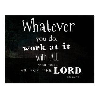 Colossians 3:23 Bible Verse, Scripture art Postcard