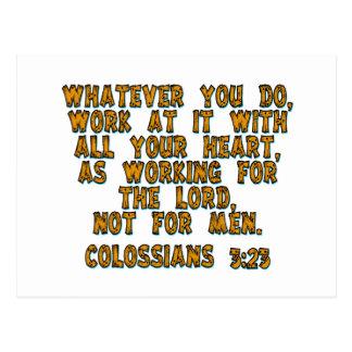 Colossians 3:23 postcard