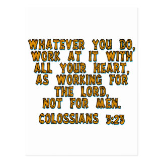 Colossians 3:23 postcard